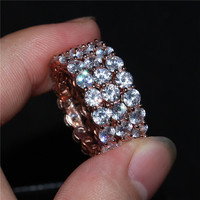 luxury 100% Solid 925 silver&rose gold Jewelry Brand Engagement Wedding Rings Sets 3 in 1 Pave Diamant CZ Stone Ring Women