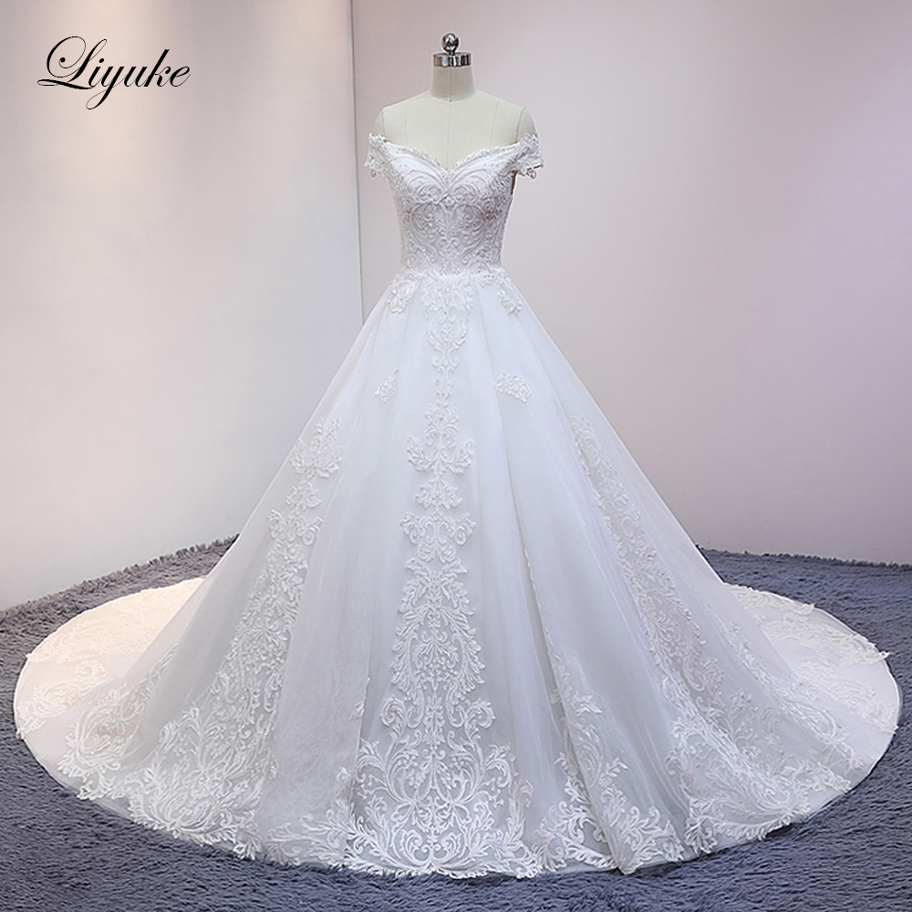 Liyuke Ivory Color Ball Gown Wedding Dress With Embroidered Organza Court Train Elegant Bride Dress