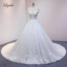 Liyuke שנהב צבע כדור שמלת חתונת שמלה עם רקום אורגנזה משפט רכבת אלגנטית כלה שמלה