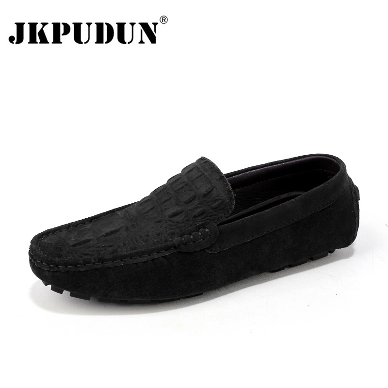 JKPUDUN Crocodile Suede Men Loafers Moccasins Genuine Leather Mens Boat Shoes Slip On Male Casual Driving Shoes Plus Size 38-46 suede slip on mens shoes