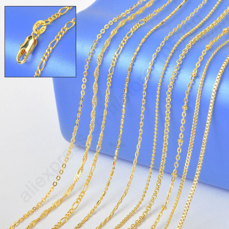 """10PCS Sample 18"""" Mix 10 Kinds  Solid Yellow Gold Filled Venice Figaro Rolo Curb   Necklace Chains -  Stamped 1.2-2MM"""
