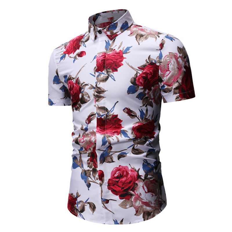 Litthing 2019 メンズ夏シャツ半袖花ブラウス男性時装カジュアルフラワープリントオムビーチシャツドロップシッピング