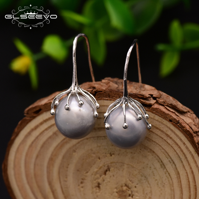 GLSEEVO Natural Fresh Water Baroque  Gray Pearl Earrings Hook For Women Handmade Luxury Jewellery Oorbellen Voor Vrouwen GE0335B