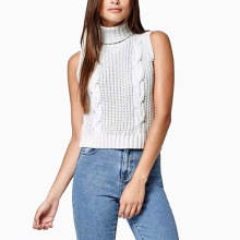 European Women's Turtleneck Striped Sleeveless Sweater Vest Fashion Female Simple Casual Pullovers Brand Tops White Gray Black