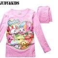 Niños año nuevo ropa súper alas camiseta de la historieta muchachas rosadas resorte superior trolls candy girl camisetas de manga larga