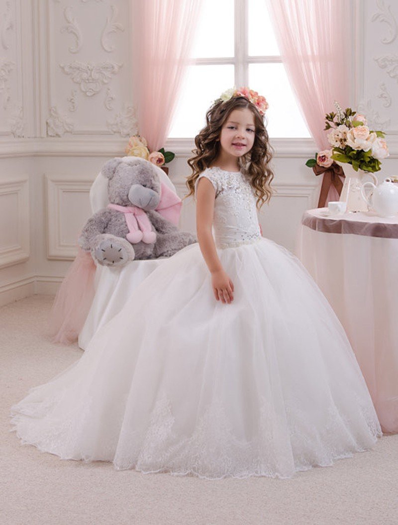 New Arrival Puffy Ball Gown Abiti Da Comunione Tulle First Communion Dresses for Girls Lace Flower Girl Dresses 4pcs new for ball uff bes m18mg noc80b s04g