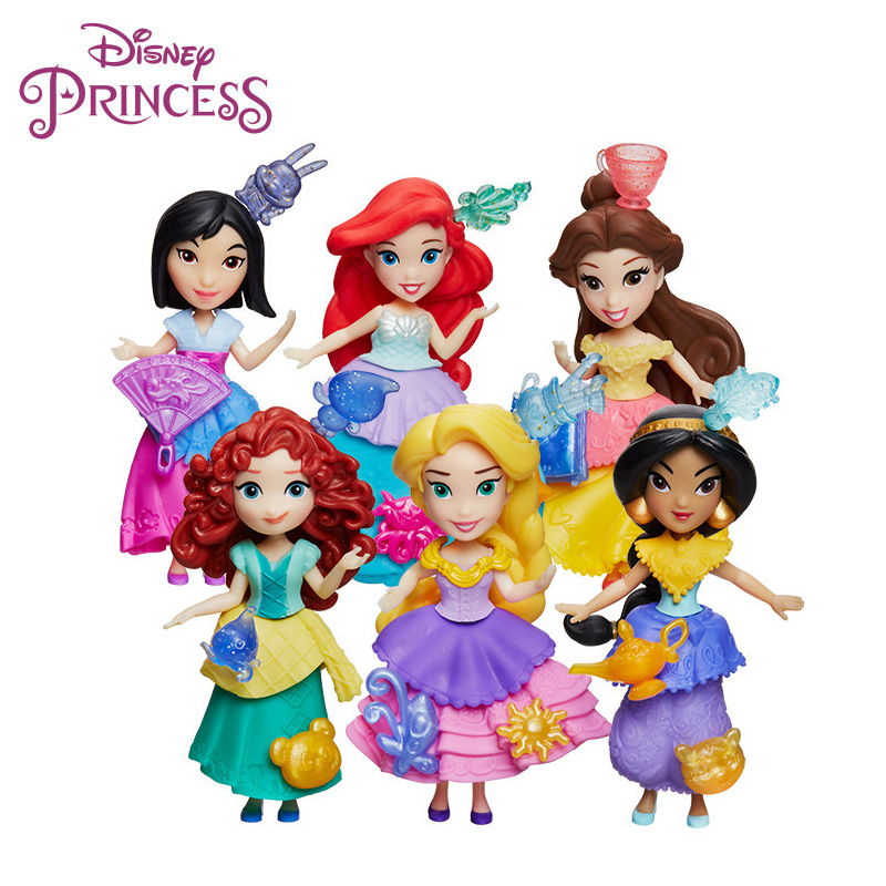 Original Hasbro Disney Princess Belle Jasmine Aurora Cinderella Merida Mulan Tiana Birthday Gift Girl Kid Toy Doll Action Figure книги хоббитека техника пейп арт
