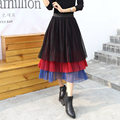 Fashion 3 different color Layers Midi Tulle Skirt Tutu Skirts Womens colorful Petticoat 2017 Spring faldas saia jupe