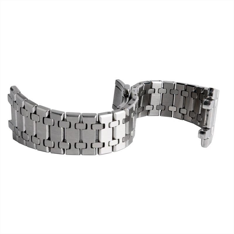 Bracelet de montre en acier inoxydable massif Fablous 28mm avec boucle papillon Bracelet en argent pour hommes et femmes Bracelet de montre pour montre AP