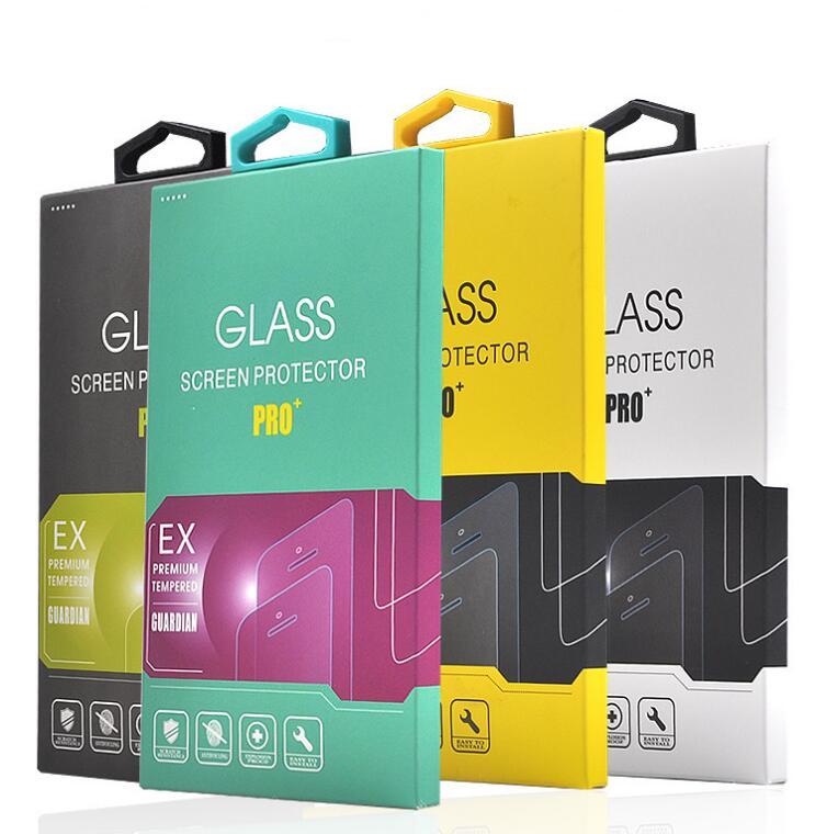 imágenes para 50 unids Paquete Al Por Menor Caja De Papel De Embalaje con la manija Para el iphone 7 plus de samsung teléfono Móvil protector de pantalla de cristal templado