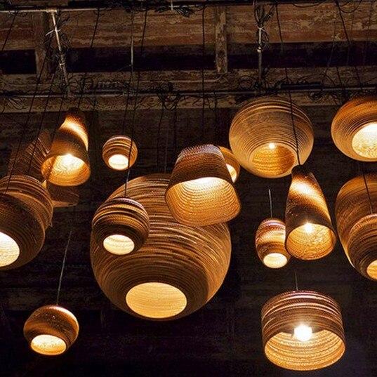 Buy loft style paper honeycomb droplight led vintage pendant light fixtures for - Paper lighting fixtures ...
