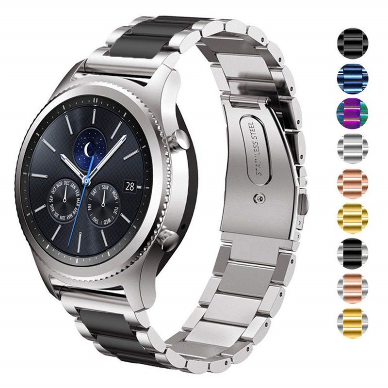 22mm Strap For Galaxy Watch 46mm Bands Gear S3 Classic/Frontier Band Stainless Steel Business Bracelet For Samsung Smartwatch