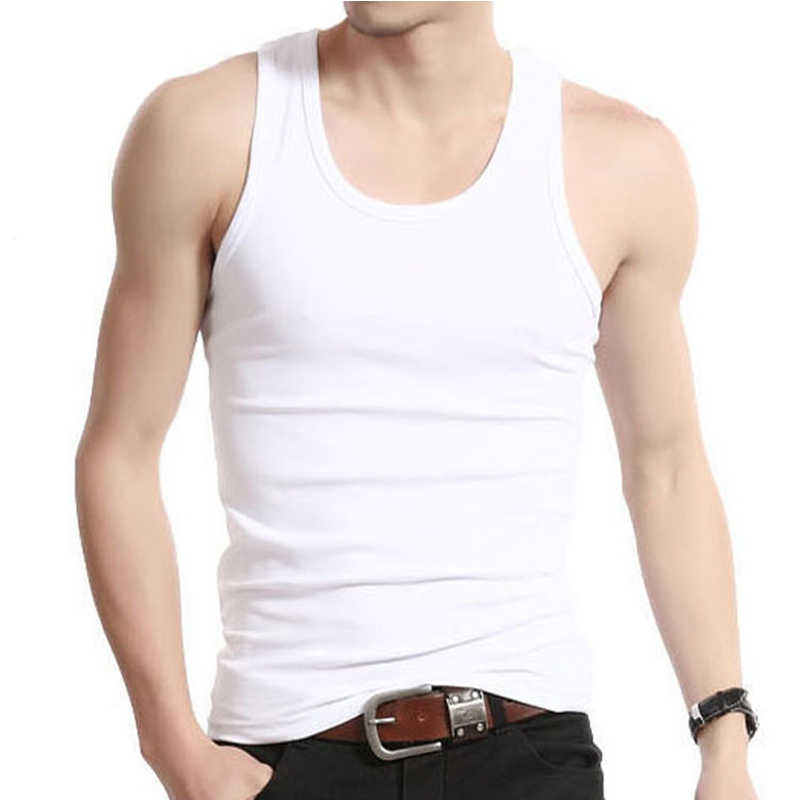 Men Undershirt Sleeveless Cotton Mens Underwears Plain Slimming Vest Bodysuit Croset Singlet Back White Gray Casual
