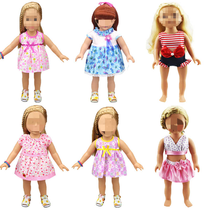 new doll clothes fashion rose dress skirt princess dress fit 43cm baby new born doll and American doll Garment accessories
