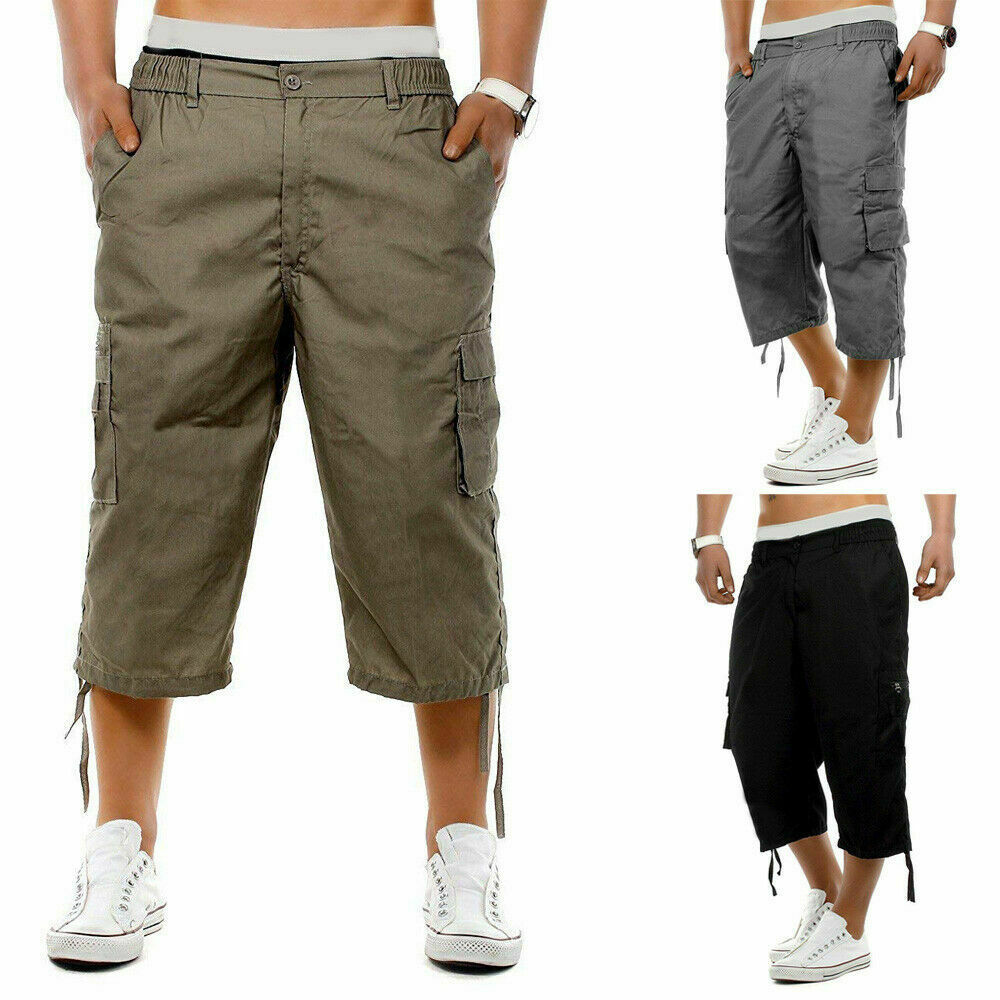2019 Newest Mens Casual  Loose Calf-Length Long Pants Elasticated Waist Cargo Combat Three Quarter Pants Safari Style Dropship
