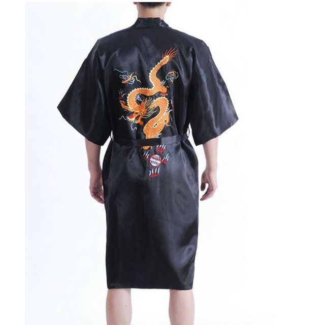 La novedad del verano china negro hombres ropa bata de seda tradicional bordado del Kimono de Yukata vestido sml XL XXL XXXL