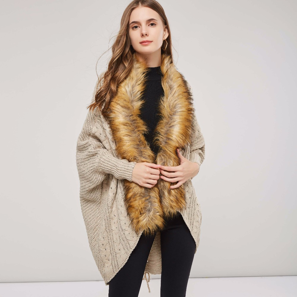 Sisjuly Casual Sweater Coat Fur Collar Long Sleeve Pattern