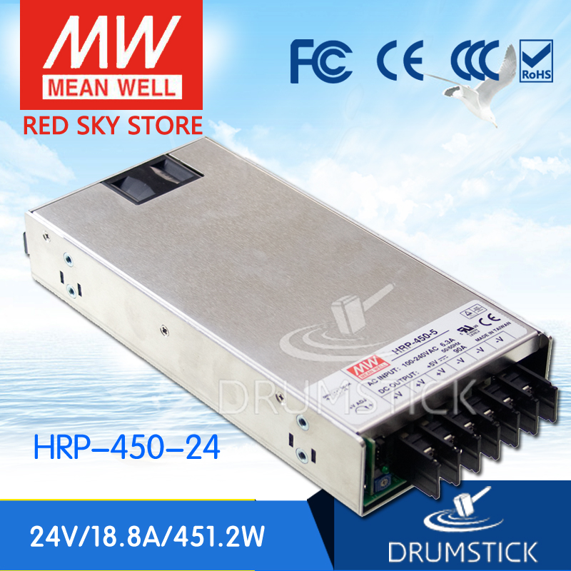 Selling Hot MEAN WELL HRP-450-24 24V 18.8A meanwell HRP-450 24V 451.2W Single Output with PFC Function  Power Supply