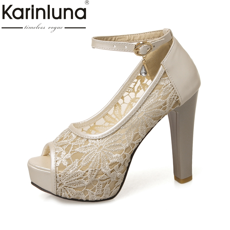 Karinluna 2018 Summer peep toe women shoes sandal sexy high heels party wedding bride sandals woman shoes big size 32-43 baoyafang white red tassels women wedding shoes bride 12cm 14cm high heels platform shoes woman high pumps female shoes