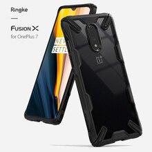 Ringke Fusion X pour Oneplus 7 boîtier double couche coque arrière transparente et coque souple en polyuréthane thermoplastique hybride Protection anti chute robuste
