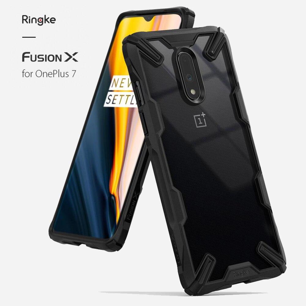 Ringke Fusion X pour Oneplus 7 boîtier double couche PC couverture arrière transparente et coque souple en polyuréthane thermoplastique hybride Protection anti-chute robuste