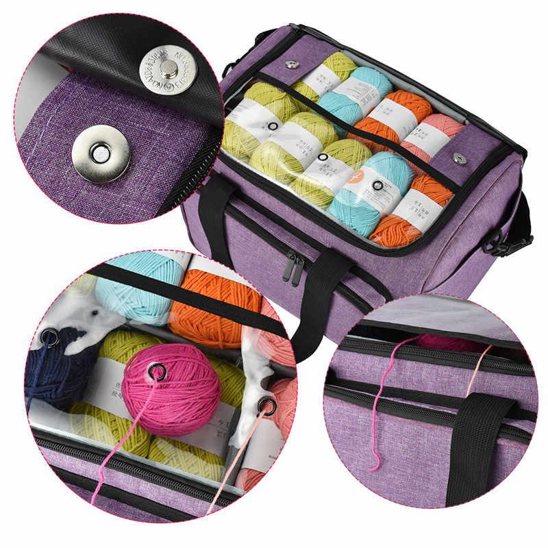 KOOKNIT сумка для вязания, сумка-тоут, органайзер с внутренним разделителем для шерсти, крючки для вязания крючком, спицы, набор для шитья, сумка для хранения «сделай сам»