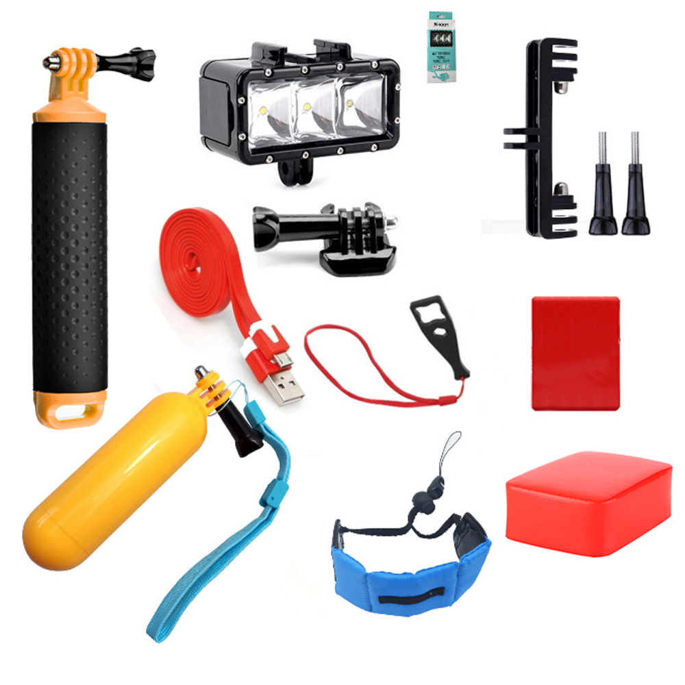 SHOOT Swimming Accessories Set for GoPro Hero 6 5 4 3 SJCAM Xiaomi Yi 4K H9 Sports Cam float hand strap diving waterproof light