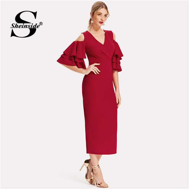 29705baf673c ... Sheinside Red Bodycon Dress Women V Neck Ruffle Sleeve Belt Back Split Pencil  Dress 2018 Summer Elegant Party Dress. Previous. Next