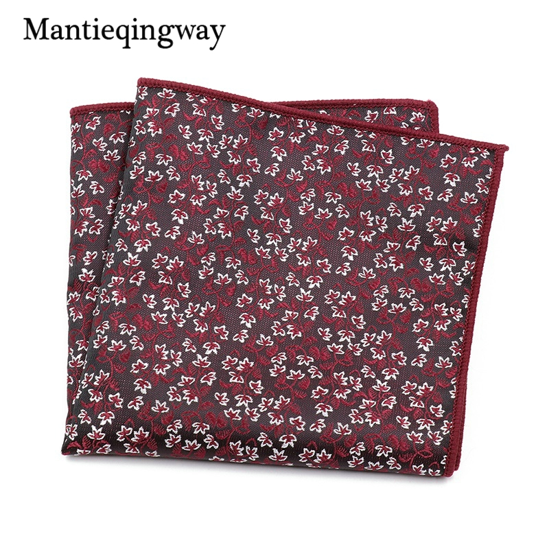 Mantieqingway Polyester Handkerchief For Mens Suits Business Floral Printed Pocket Square Pocket Towel Black Hanky Hankies
