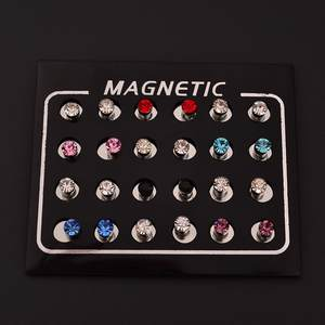 1 Pair  4mm Round Crystal Rhinestone Magnet Stud Earrings Earrings Parker Ms. Men's Magnetic Fake Earplug Jewelry Non-porous ro