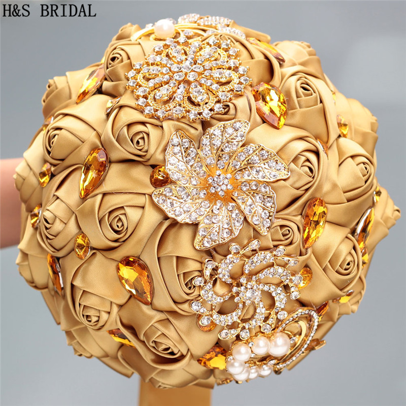 Gold Wedding Flower Luxury Gold Rhinestone Pearl Bride Bridesmaid Wedding Flower Artificial Rose Holding Flowers Hot Sale