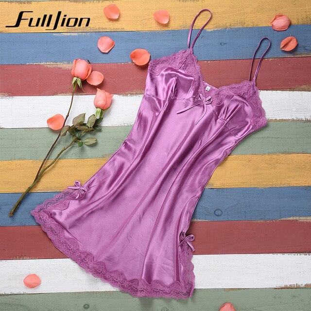 Ladies Sexy Silk Satin Night Dress Sleeveless Nighties V-neck Nightgown  Pijamas Nightdress Lace Sleepwear bce365780