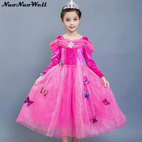 2018 Children's Princess Clothing Baby Girls Formal Dress Cartoon Cosplay Clothing Lace Dress For 3 10 Years Girl's Sweet Dress