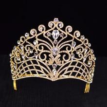 Grand diadème en cristal, couronne de bal, strass, couleur or ou argent, accessoires de cheveux, HG 037