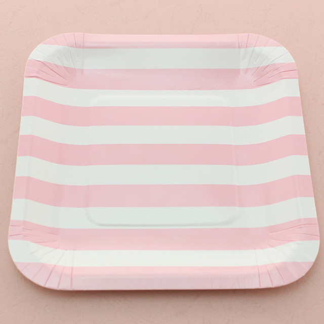 7\  Disposable Pink Striped Paper Plates Wedding Birthday Party Supplies Square Paper Plates  sc 1 st  AliExpress.com & 7\