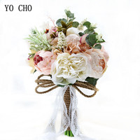 YO CHO Wedding Bouquet Artificial Roses Peonies Silk Flowers Pink White Wedding Bridal Bouquets Bridesmaids Mariage Accessories