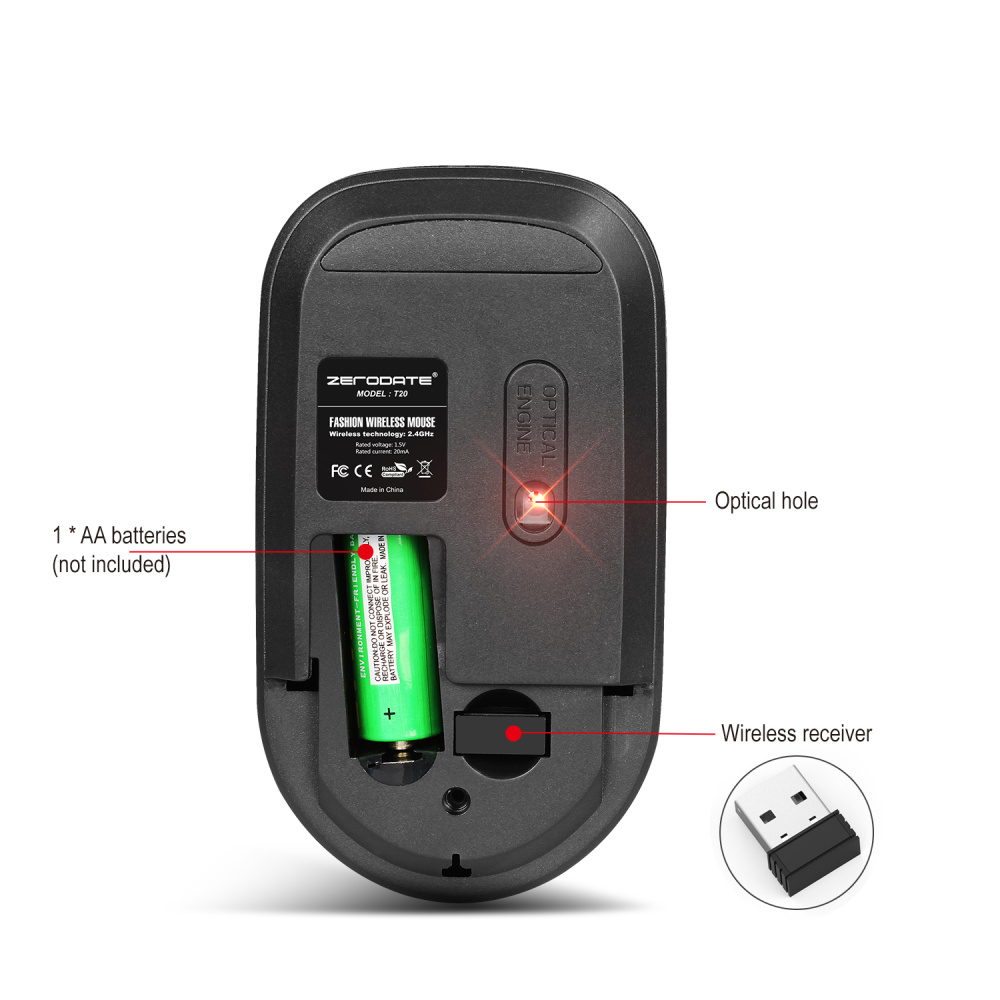 Image 3 - ZERODATE  2.4G Wireless Mouse 3 Keys  Ergonomic 1600DPI  Gaming Mouse USB Optical Mice for PC Laptop Computer  For Office Home-in Mice from Computer & Office