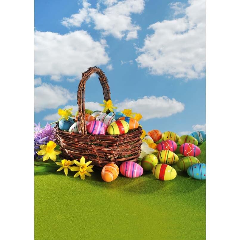 5x7ft Happy Easter Eggs Basket Green Grass Garden White