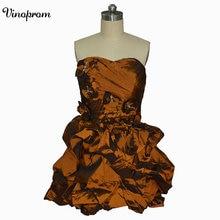 Бальное платье Милая Тафты Коктейльное платье рюшами Узелок партии платья индивидуальный заказ Прямая