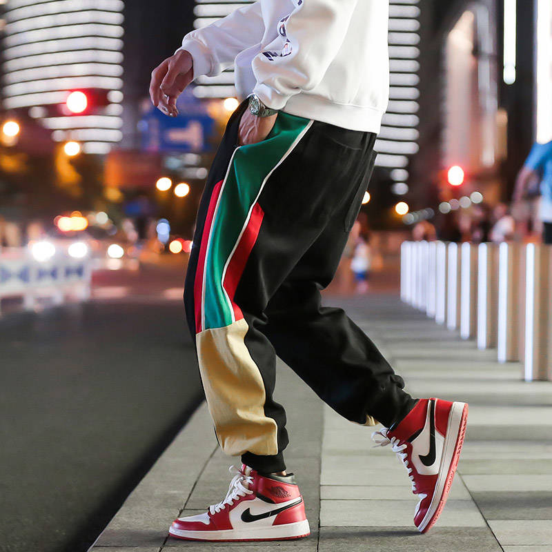 2019 Men Corduroy Patchwork Cargo Pants Harem Joggers Harajuku Sweatpants Fashion Hip Hop Streetwear Trousers Japan Style Pants