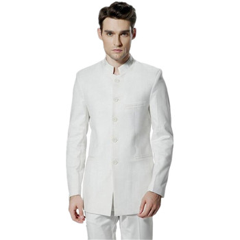 Chinese wind restoring ancient ways men suit stand collar fashion Chinese tunic suit two-piece elegant pure white men's suit
