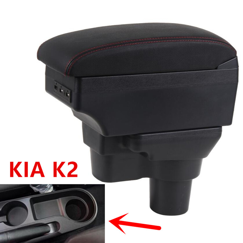 Para 2017 KIA Rio 4 Rio x-line caja de reposabrazos compartimento de almacenamiento central portavasos Cenicero interior car-styling Accesorios