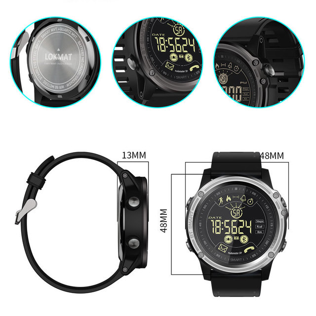 LOKMAT Men Sport Smart Watch 5ATM Waterproof Bluetooth Pedometer Message Reminder digital Clock SmartWatch for ios and android