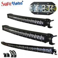 3D 240W 180W 120W 90W 150W Super Slim Single Row Curved Led Light Bar Combo For Offroad Driving Work Lamp Waterproof SUV 4WD ATV