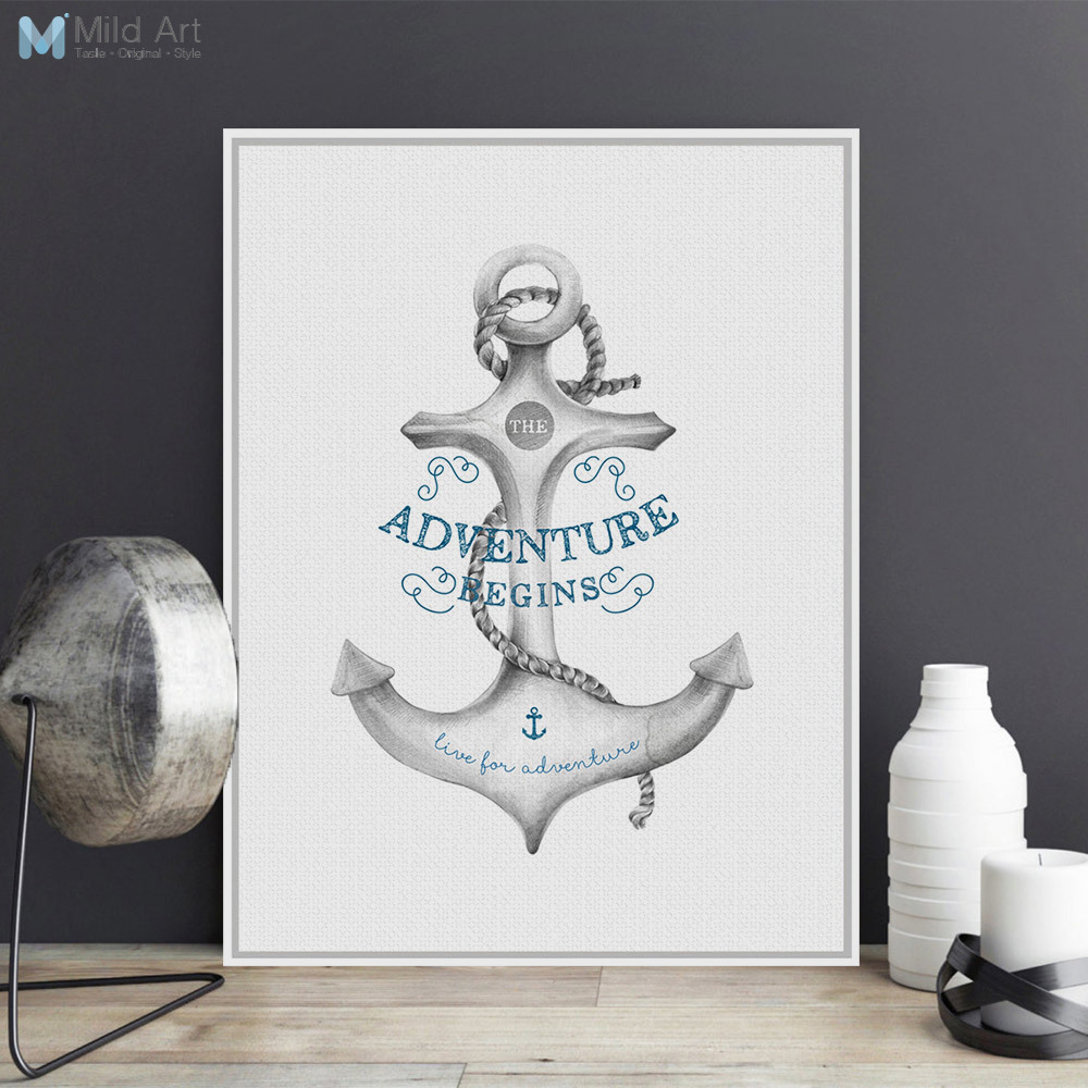 6b41ffa92 Nordic Minimalist Motivational Typography Adventure Quotes Sea Anchor A4  Art Print Poster Wall Picture Canvas Paintig Home Decor