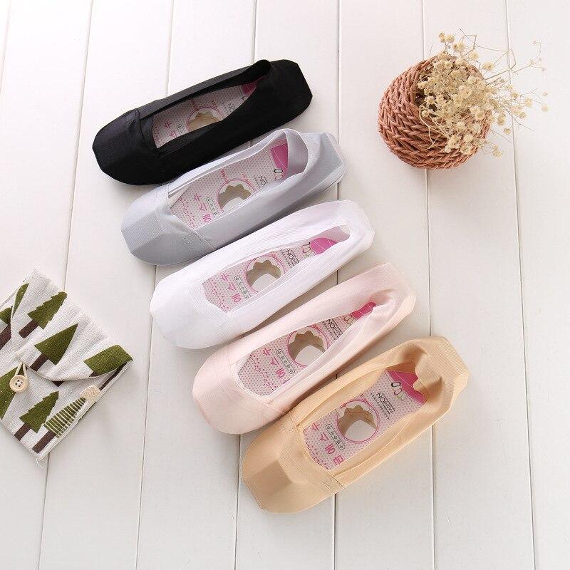 Summer women girl Silica Gel Lace Boat Socks Invisible Cotton Sole Non-slip Antiskid Sli ...