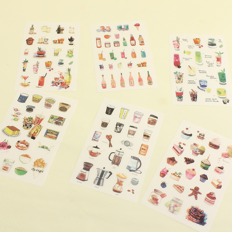 6PCS New Delicious Drink Food Children Stationery For DIY Albums Scrapbooking Diary Decoration Cartoon Depicting Stickers