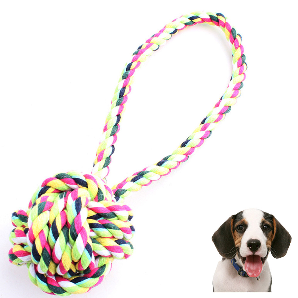 Drop Shipping Fashion New Large Medium Dog Throw Tug Pull Chew Toy Ball Rope New Dog Chew Toy Rope For Puppy Hot sale 2017 Jun30