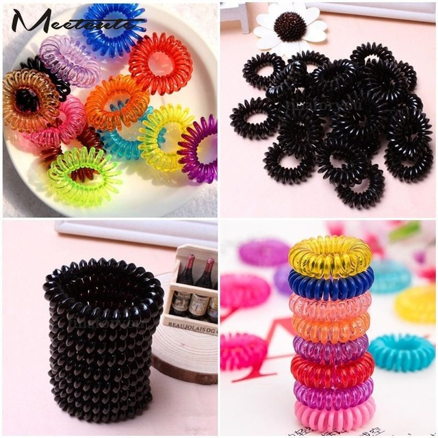 Meetcute 10pcs New Elastic Tie Wire Plastic Spiral Coil Hair Ties Rope Ponytail Clips Hairpins
