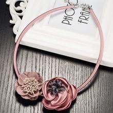 Rosa rojo azul maxi de boho gothic choker collar collares joyería de las mujeres collares hechos a mano de flores de tela colgantes para las mujeres mujer